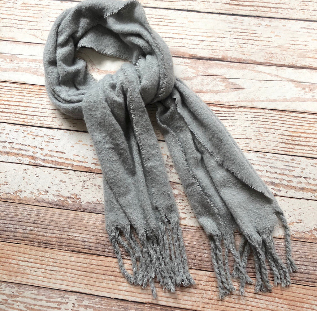 Francesca Fringe Scarf In Light Gray