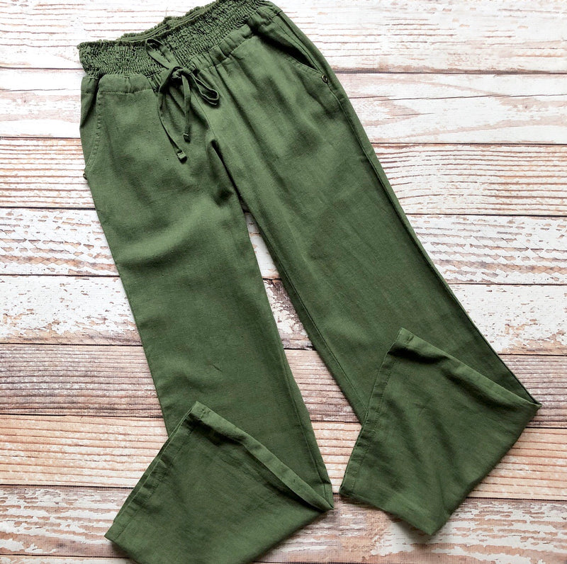 Cool Breeze Linen Pants In Olive