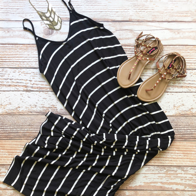 Mallory Striped Maxi In Black