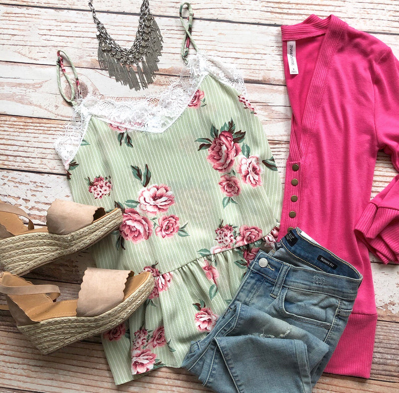 Frilly Floral Top In Lime