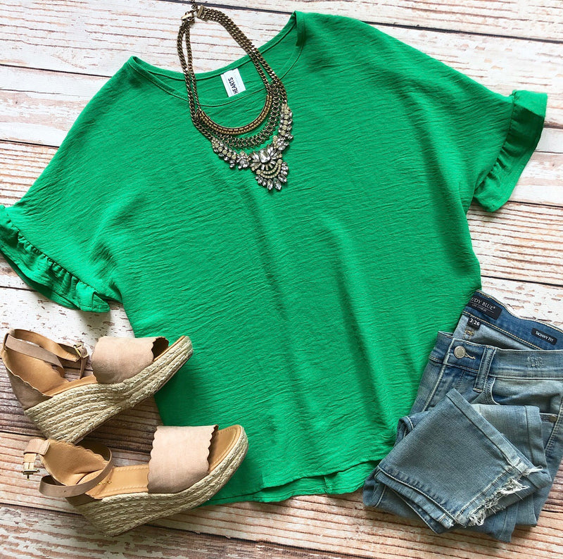 Ruffle Cutie Top In Kelly Green
