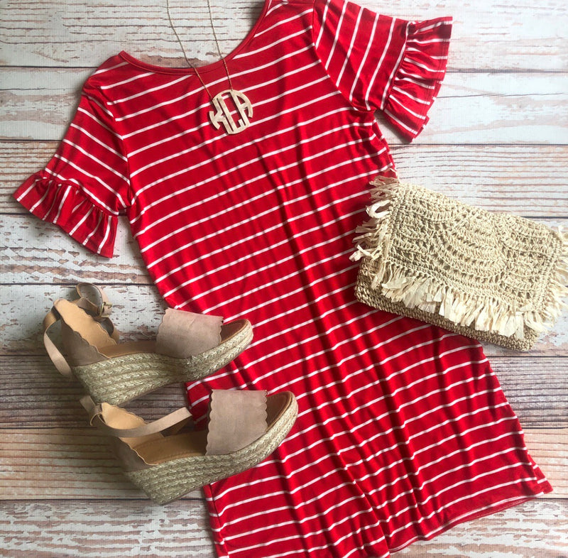 Key Largo Striped Dress In Red