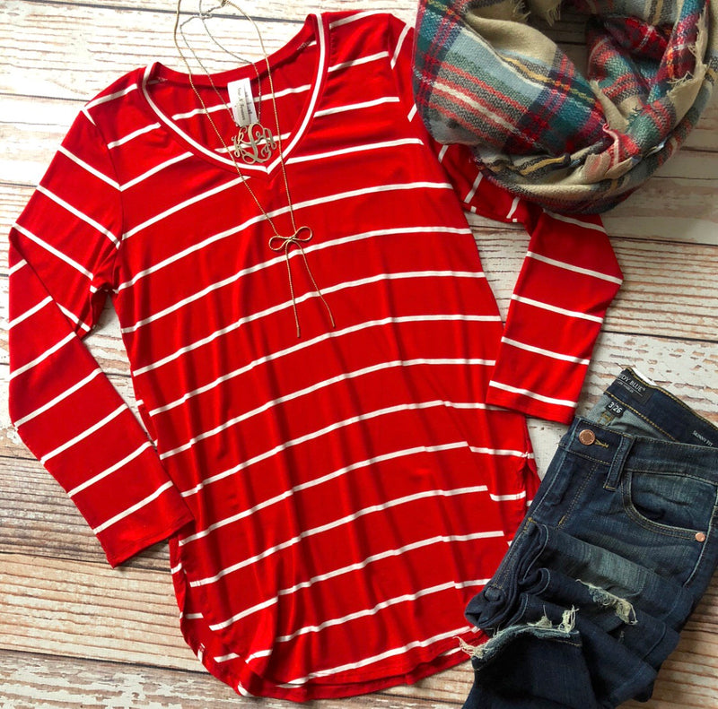Sharon Striped Top In Red