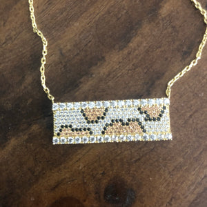 Swarovski Crystal Leopard Bar Necklace
