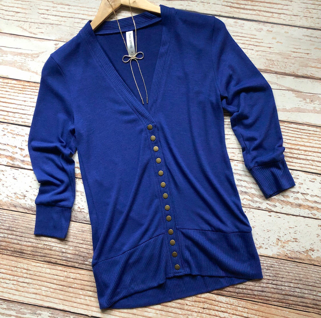 Classic Cardigan 3/4 Sleeves In Royal
