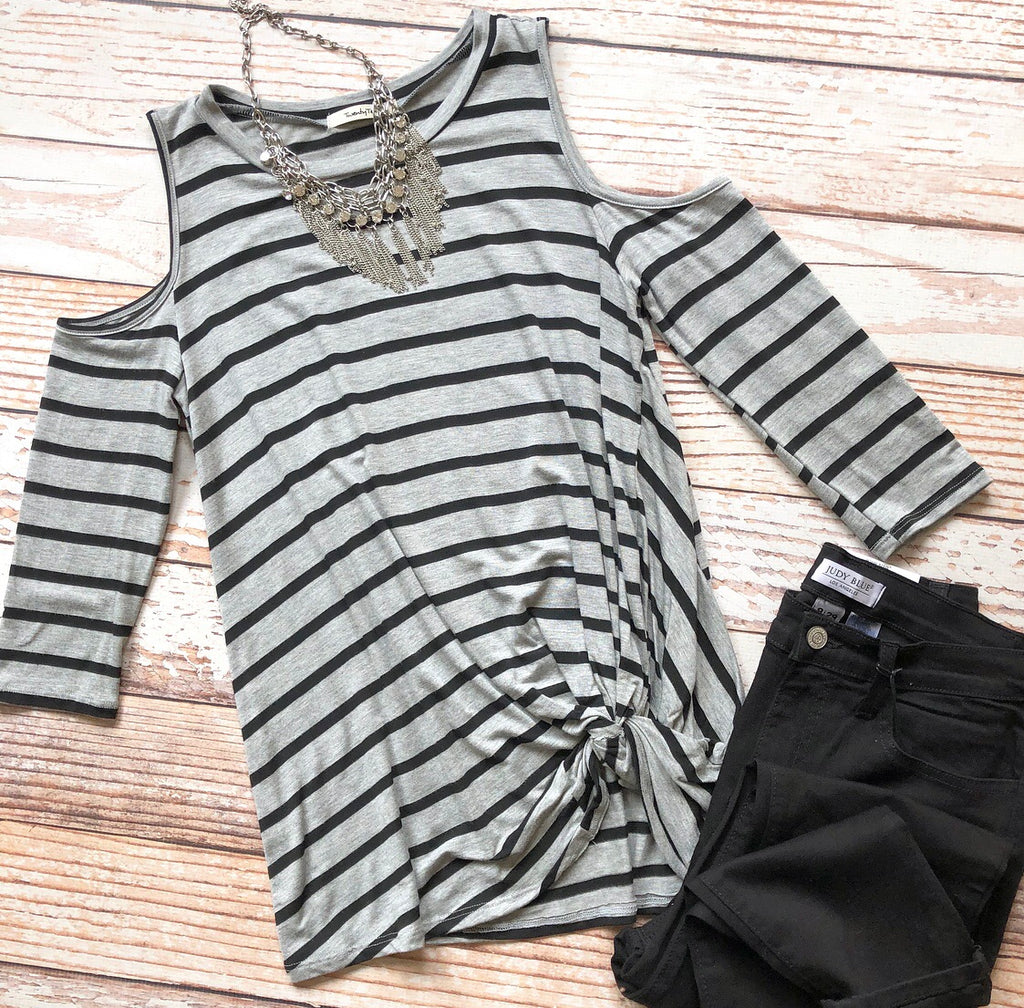 Twisted Over You Top In Gray