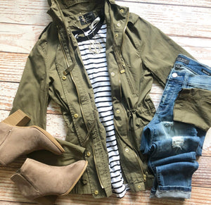 Fall Vibes Hooded Jacket in Olive