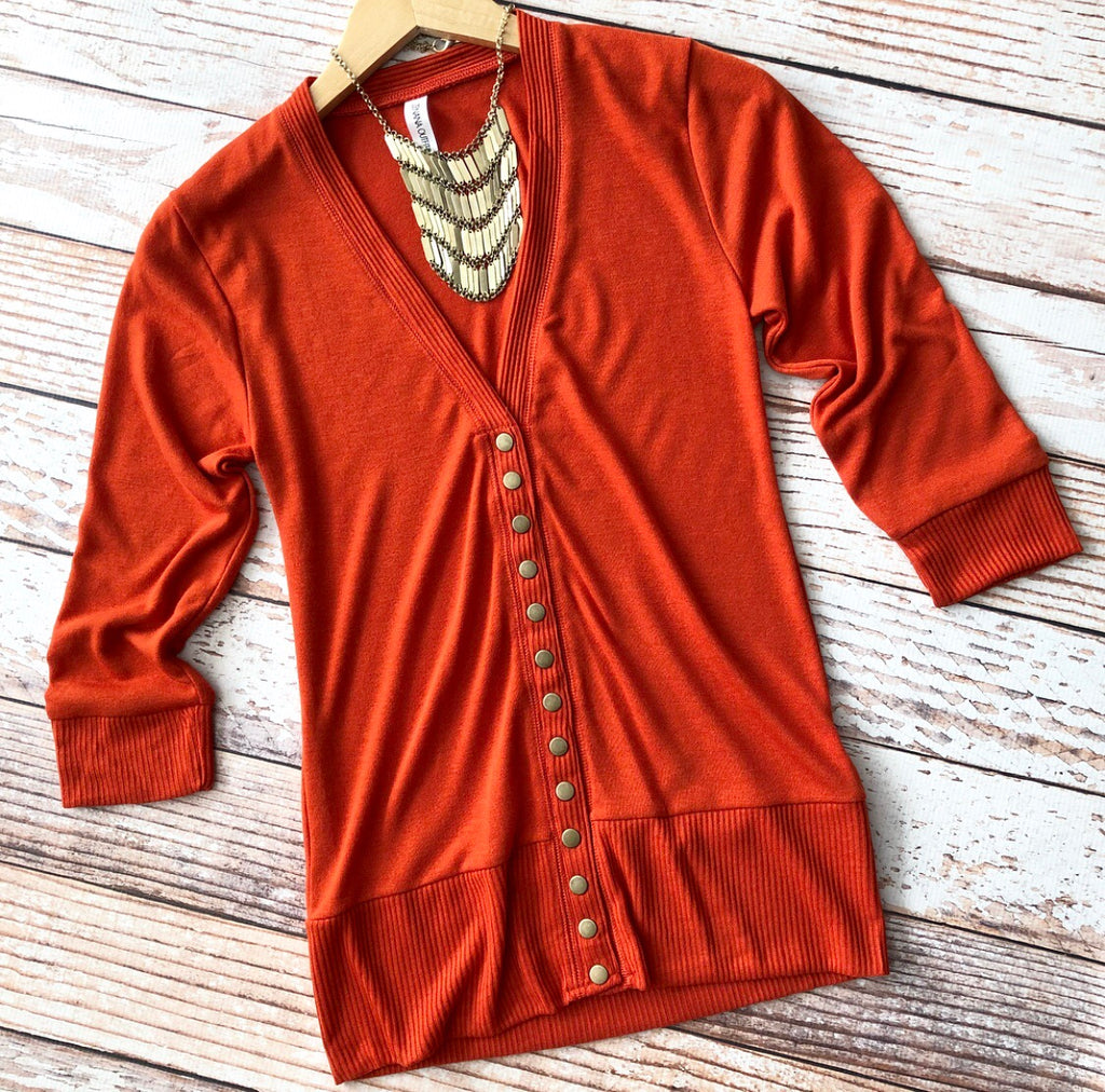 Classic Cardigan 3/4 Length Sleeves in Copper