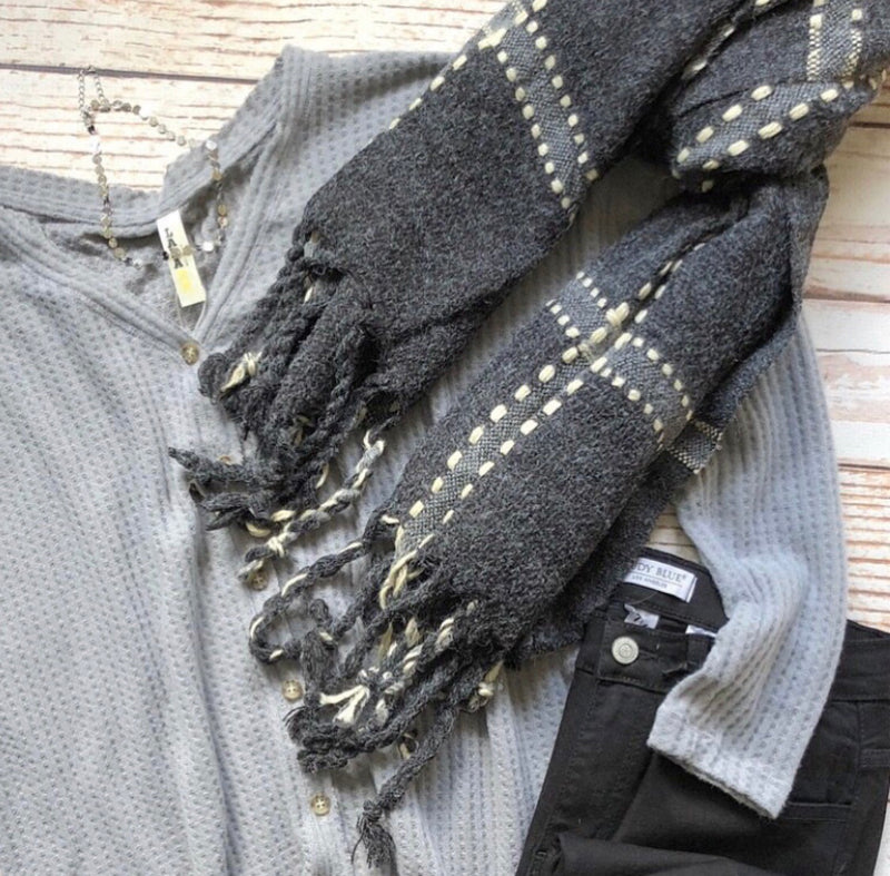 Jessica Fringe Scarf In Charcoal