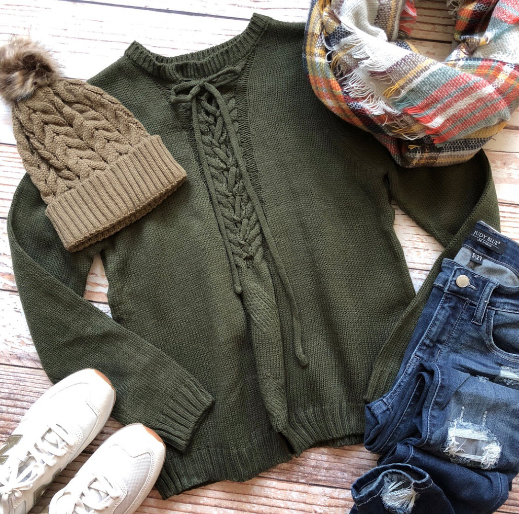Tied Up Miley Sweater In Olive