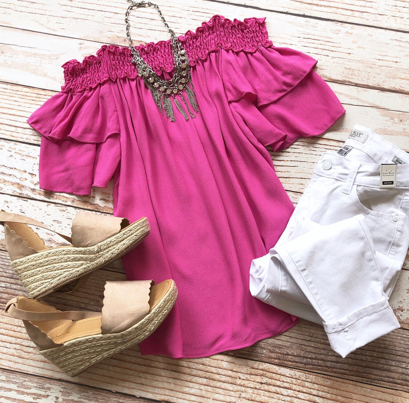 Spring Escape Off The Shoulder Top In Fuchsia