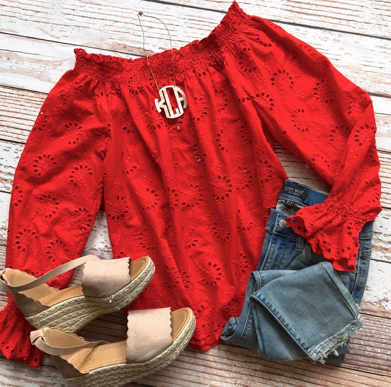 Pretty Little Details Off The Shoulder Top In Tomato Red