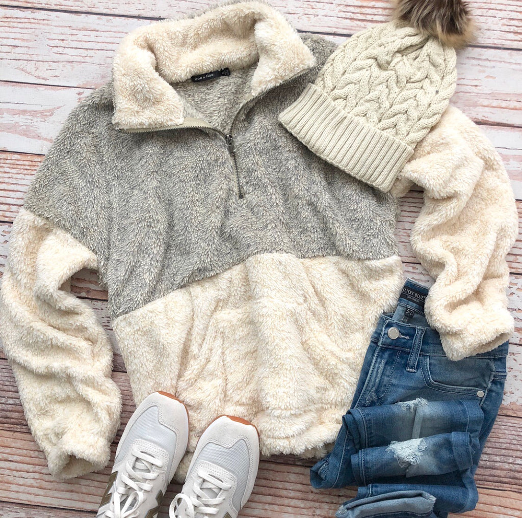 Snow Day Pullover In Taupe
