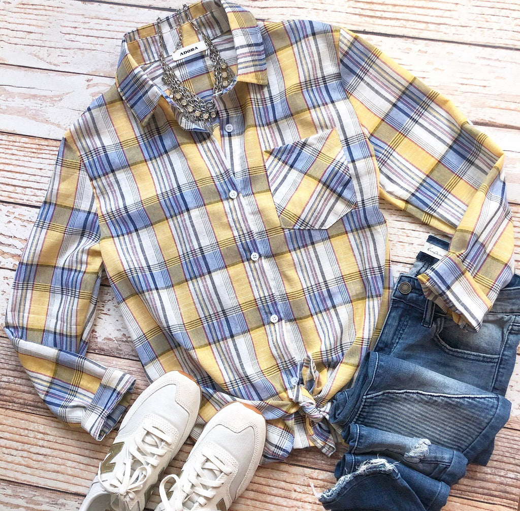 Loosen Up Plaid Top In Yellow