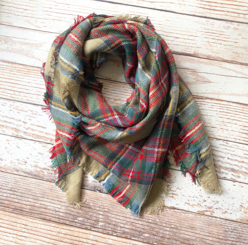 Plaid Blanket Scarf In Beige