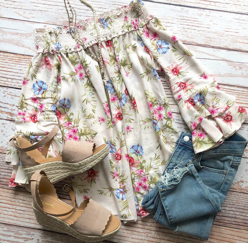 Floral Mania Off The Shoulder Top