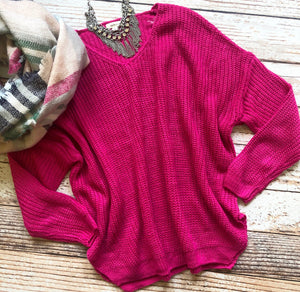 Sexy Shoulder Sweater in Fuchsia