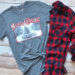 Old Time Christmas Car Tee In Gray