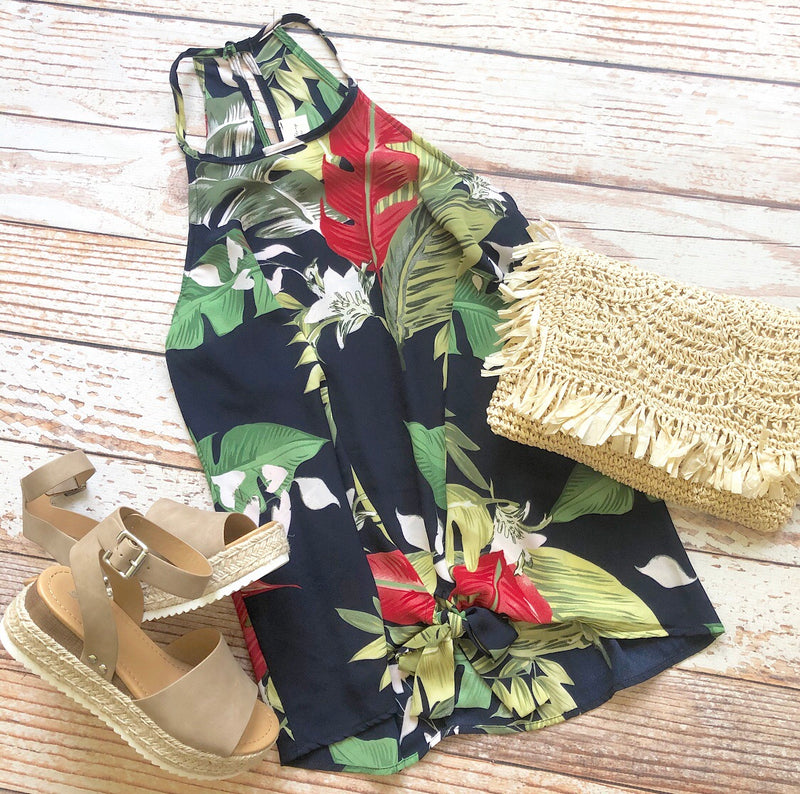 Tropical Wave Top In Navy