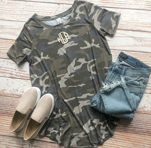 Casual In Camo Round Neck Top