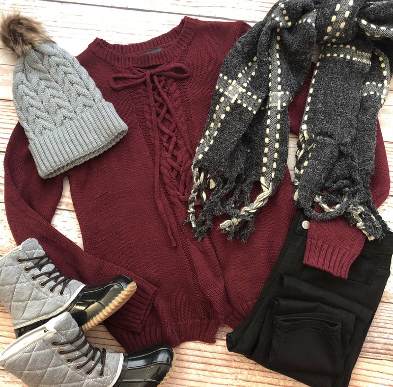 Tied Up Miley Sweater In Wine