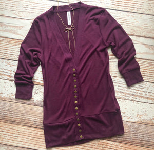Classic Cardigan 3/4 Sleeves In Dark Plum