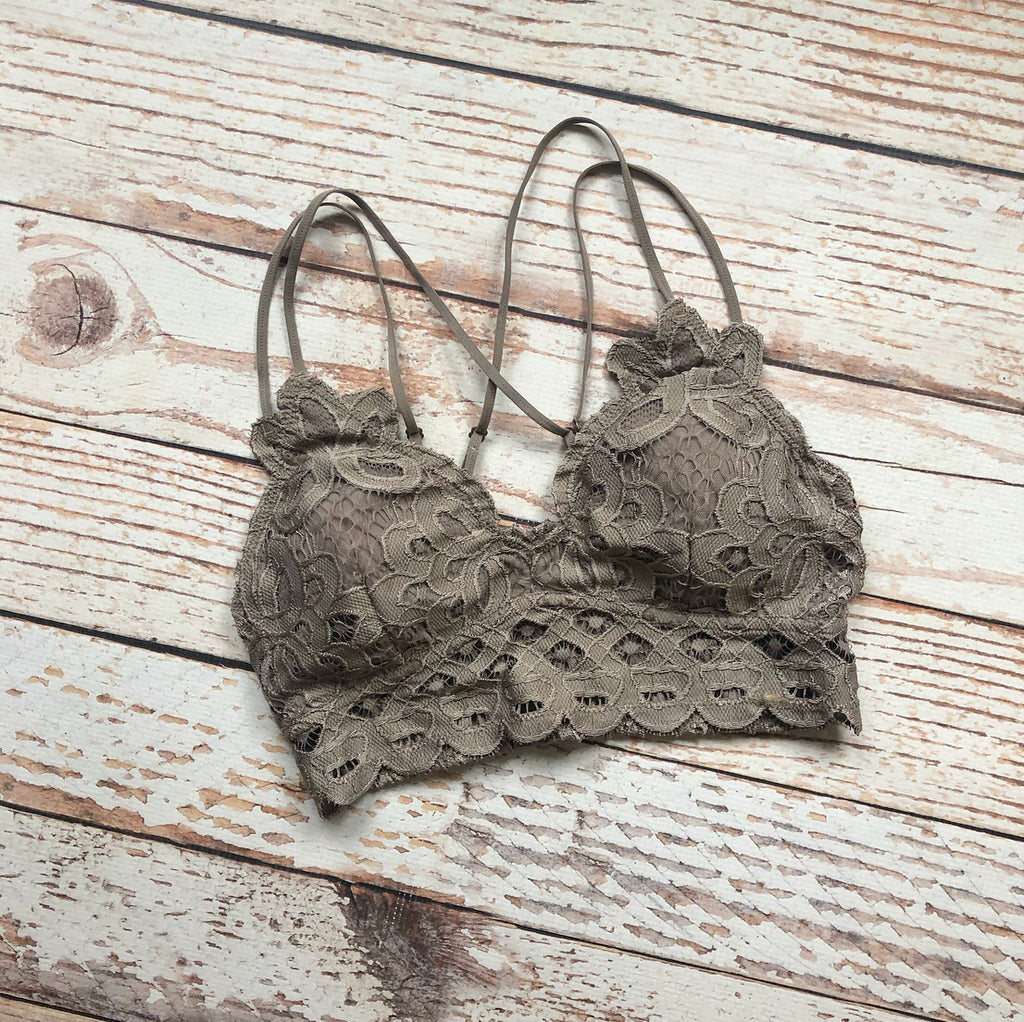 Whimsical Lace Bralette In Cocoa