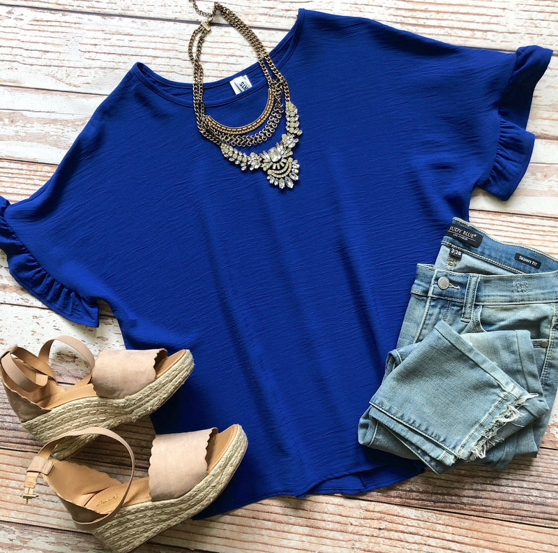 Ruffle Cutie Top In Royal