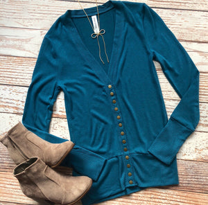 Classic Cardigan Long Sleeves In Teal