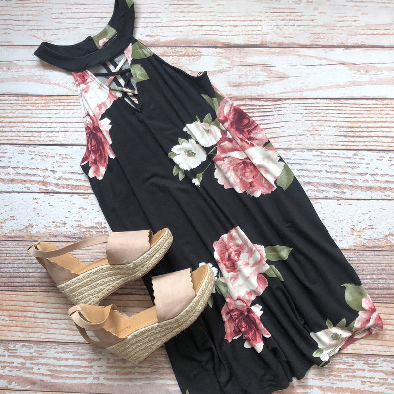 Mildred Floral Dress In Black