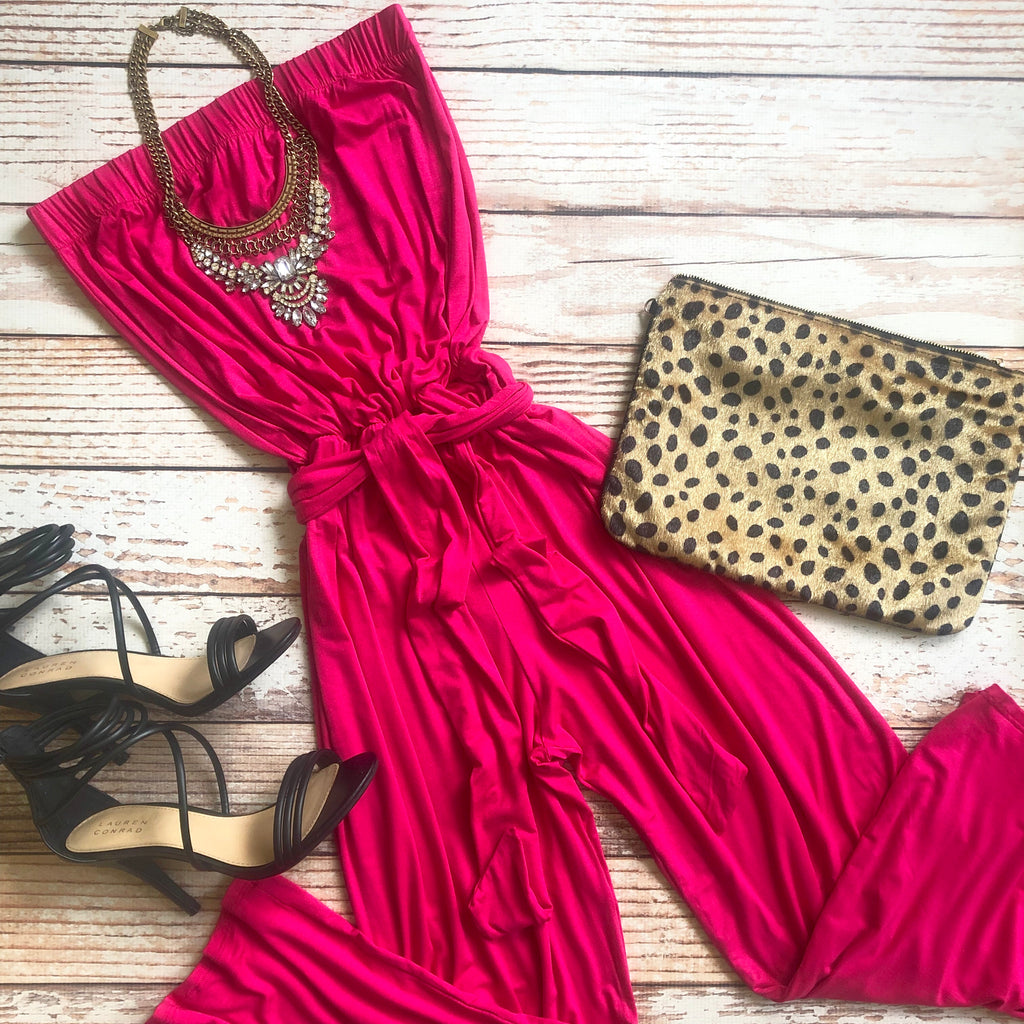 Chloe Jumpsuit In Hot Pink