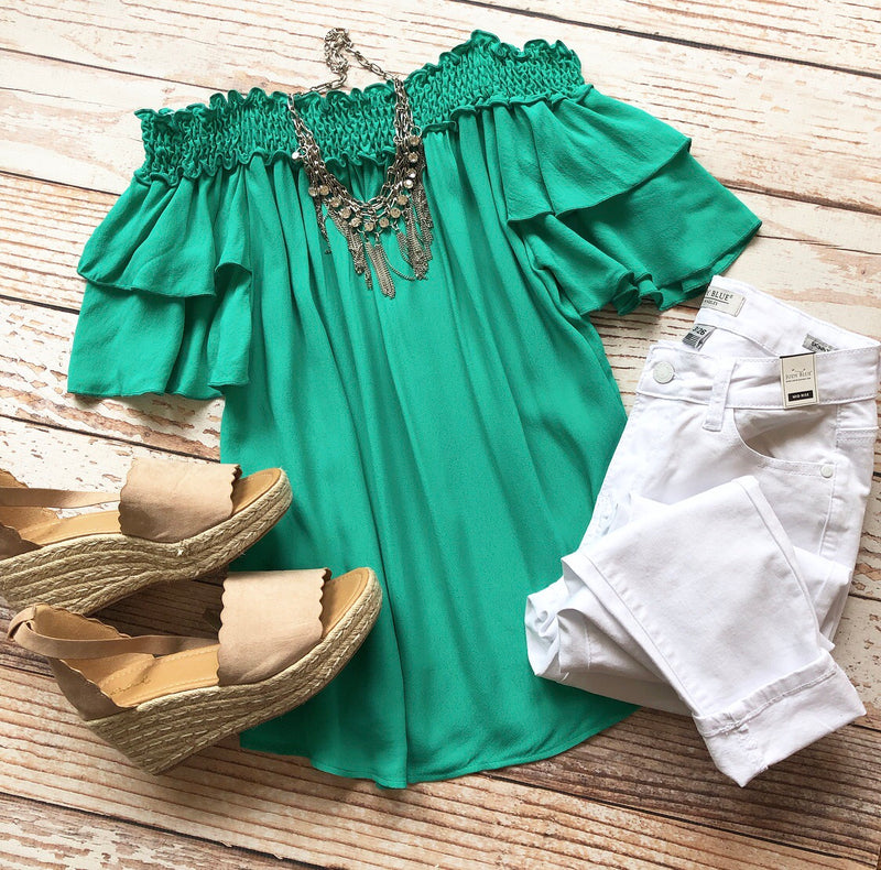 Spring Escape Off The Shoulder Top In Green