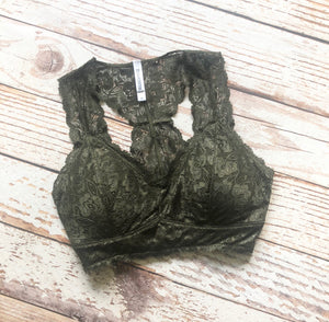 Lily Diamond Padded Lace Bralette in Dark Olive