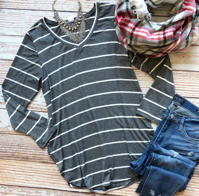 Sharon Striped Top In Charcoal