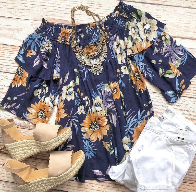 Montgomery Heights Off The Shoulder Top In Navy