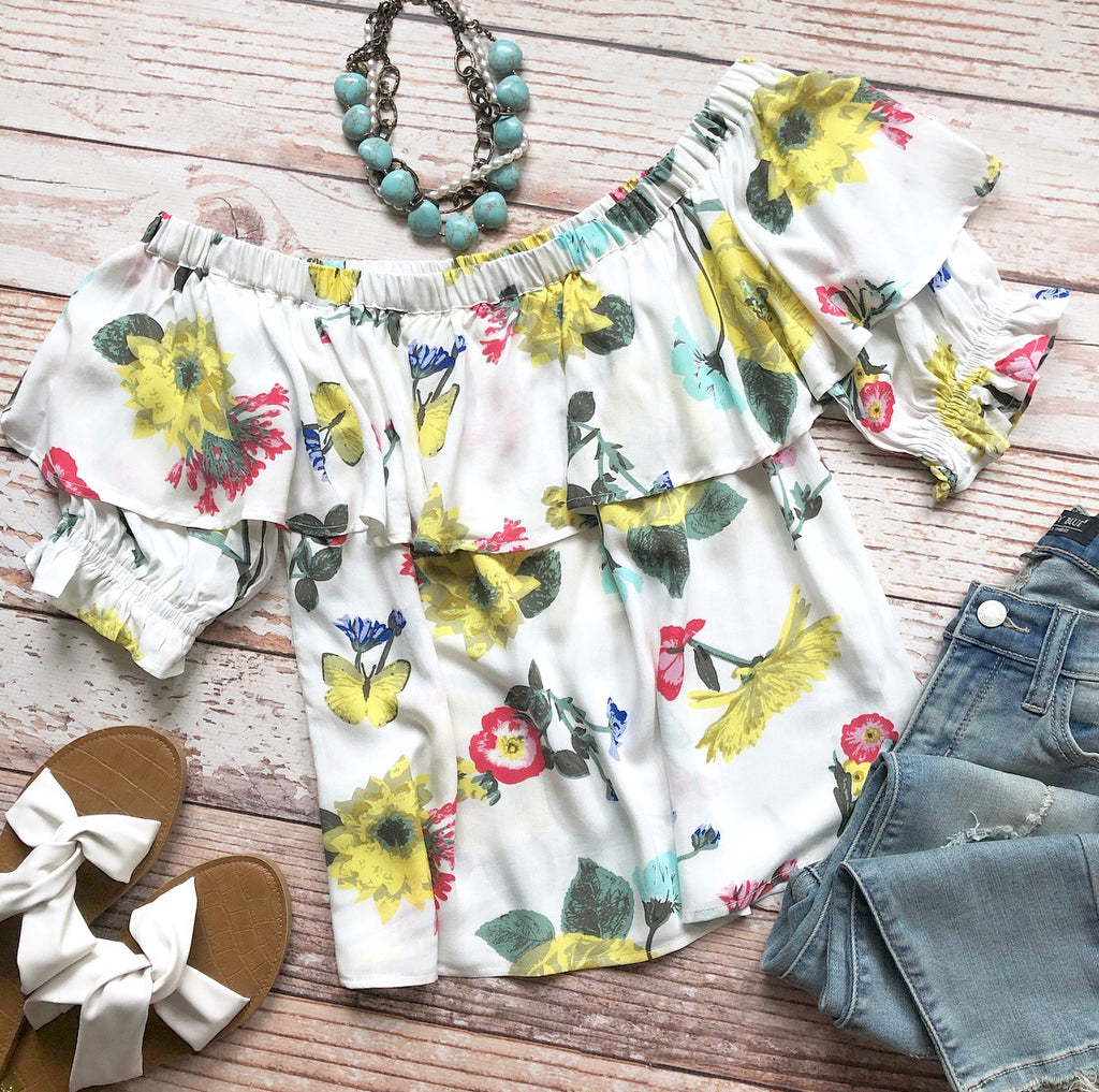 Sunshine Floral Off The Shoulder Top