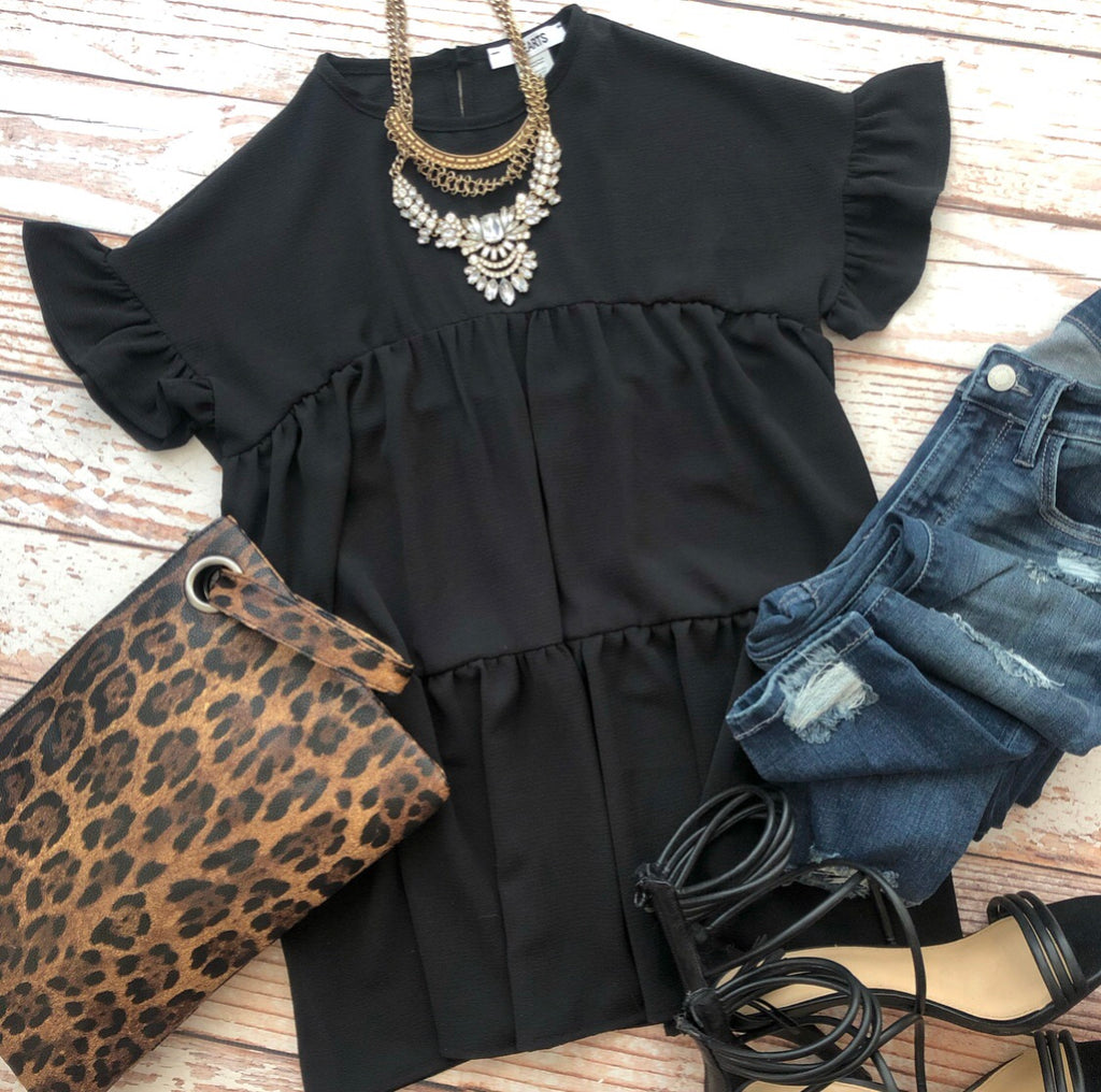 Romantic Ruffles Top In Black