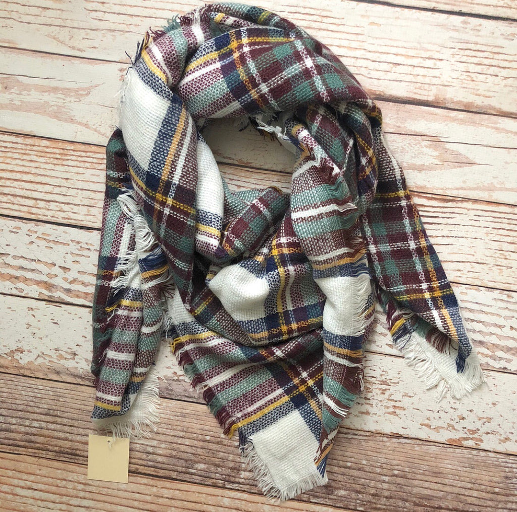 Plaid Blanket Scarf In Blue