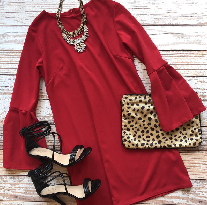 Holiday Classic Long Sleeve Dress In Red