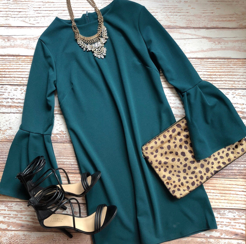 Holiday Classic Long Sleeve Dress In Hunter
