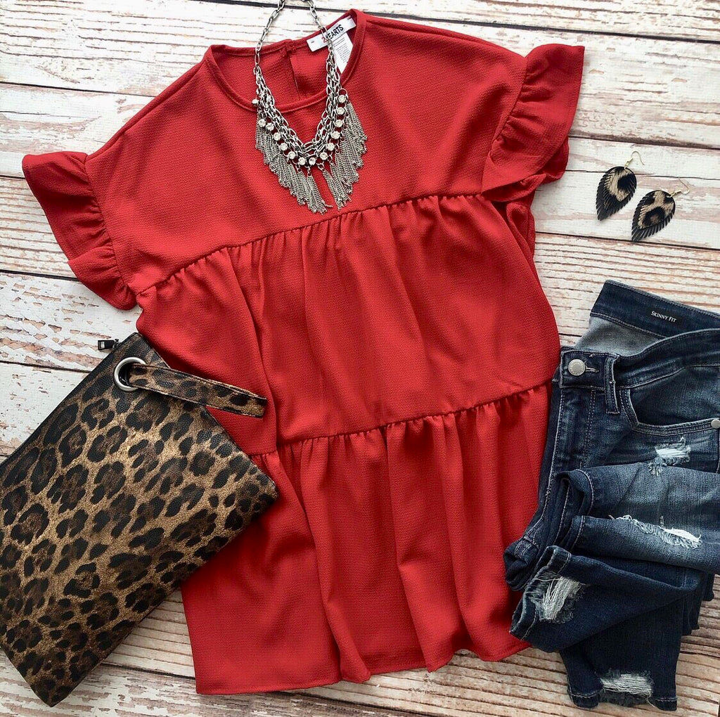 Romantic Ruffles Top In Red