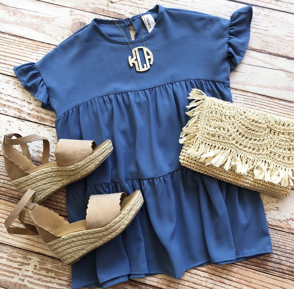 Romantic Ruffles Top In Slate Blue