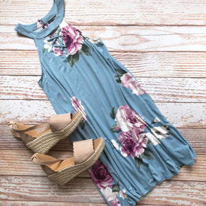 Mildred Floral Dress In Blue