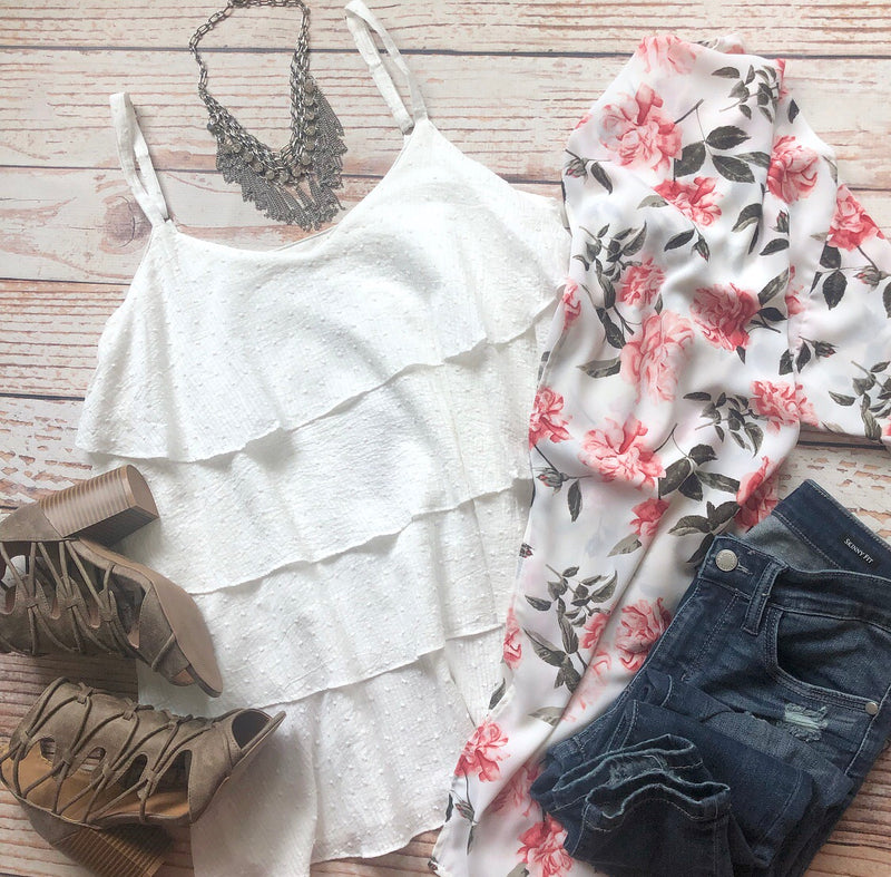 Spring Fling Layered Top In Off White