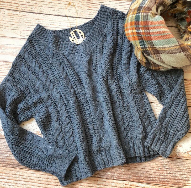 Cream Of The Crop Sweater in Smokey Blue