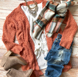 Cuddle With Me Cardigan In Bright Rust