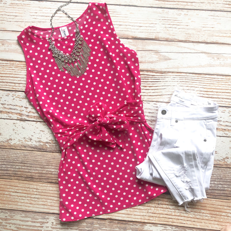 Boss Lady Polka Dot Top In Fuchsia