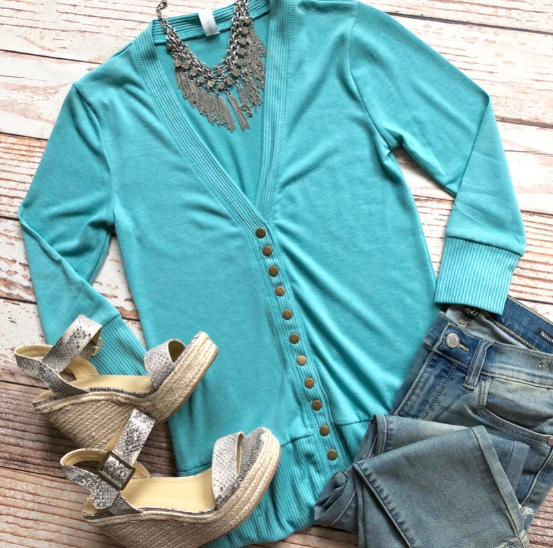 Classic Cardigan 3/4 Sleeves In Ash Mint