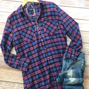 Not Your Boyfriend's Flannel In Purple