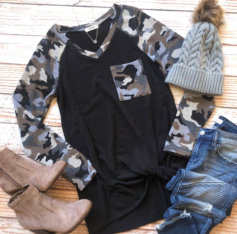 Courageous Camo Top In Gray